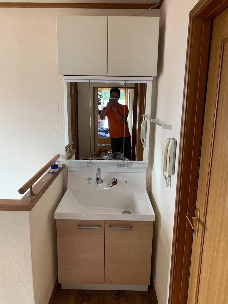 渋川市 洗面台工事 《リクシル ピアラ 三面鏡》 -リフォームモリハウスー